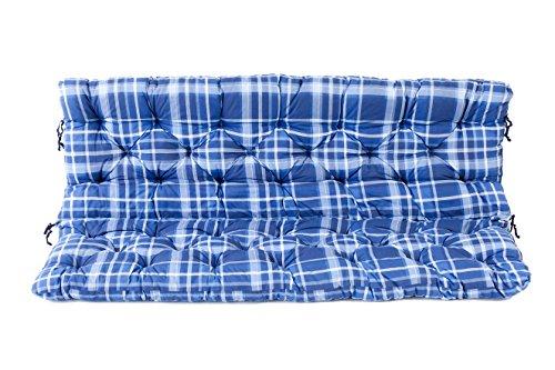 Ambientehome 3er Bank Sitzkissen und Rückenkissen Hanko, kariert blau, ca 150 x 98 x 8 cm, Bankauflage, Polsterauflage