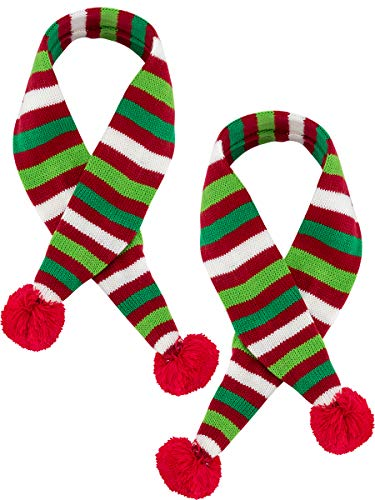 MEWTOGO 2 Dog Santa Scarves-25.5 3.15 Warm Striped Pet Winter Christmas Holiday Scarf in Green and Red for Dog Cat Puppy