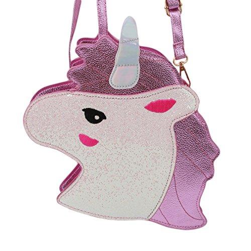 Filles Coin Licorne D'embrayage Porte Zip PU Pour Épaule Mini Sacs Bourse Portefeuille clés Idiytip Rose Femmes gAwZ8