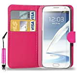 Samsung Galaxy Note 2 N7100 Leather Wallet Flip Case Cover Pouch & Mini Touch Stylus Pen + Free Screen Guard & Cleaning Cloth- HOT PINK