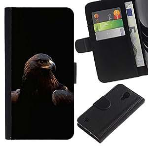 All Phone Most Case / Oferta Especial Cáscara Funda de cuero Monedero Cubierta de proteccion Caso / Wallet Case for Samsung Galaxy S4 IV I9500 // Majestic Eagle Hawk Bird