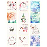 24 Pack Small Merry Christmas Greeting Cards, ALXCD White Cute Mini Size 8.5cm x 8.5cm Xmas Greeting Cards Set with Yellow Envelope, Pack of 24