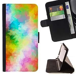 GIFT CHOICE / Billetera de cuero Estuche protector Cáscara Funda Caja de la carpeta Cubierta Caso / Wallet Case for Apple Iphone 4 / 4S // Pastel Rainbow Watercolor Blur //