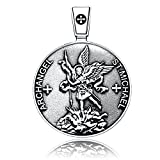 VENICEBEE ARCHANGEL ST.MICHAEL SEAL PROTECTION MEDAL CHRISTIAN TALISMAN STERLING 925 SILVER PENDANT NECKLACE
