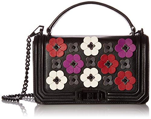 (Rebecca Minkoff Floral Applique Love Crossbody, Black/Multi)