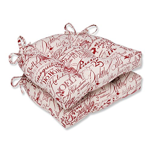 Pillow Perfect Holiday Poinsettia Reversible Chair Pad (Set of - Up Break Sings