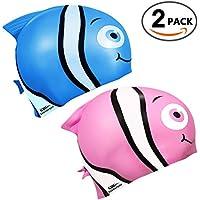 Kids Swim Goggles 2 Pack (OR Silicone Swim Caps 2 Pack)...