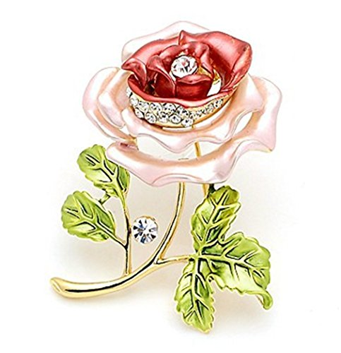 Enameled Red Rose Flower Brooch Pin Women's Jewelry Brooches
