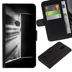 KLONGSHOP / Tirón de la caja Cartera de cuero con ranuras para tarjetas - Meaning Girl Black White Deep - Samsung Galaxy S5 Mini, SM-G800, NOT S5 REGULAR!