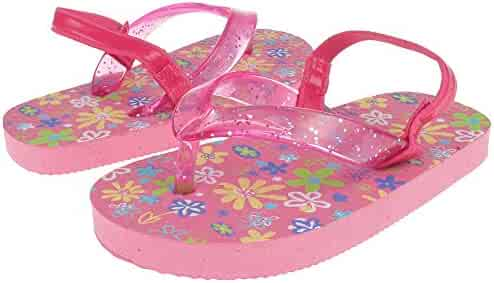 12dc6df26036 Capelli New York Glitter jelly thong on playful florals Toddler Girls Flip  Flops