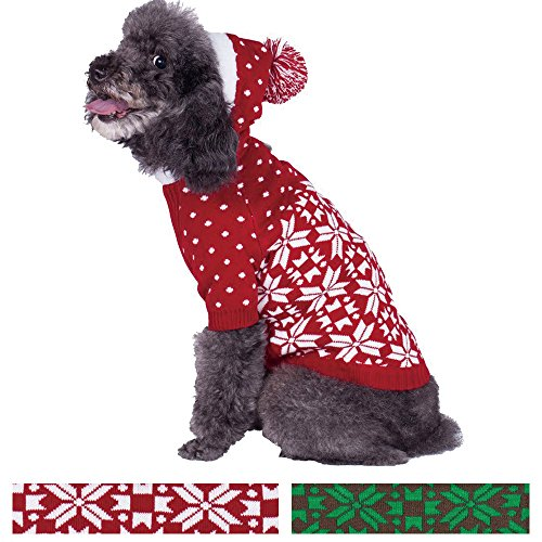 Blueberry Pet Let It Snow Classic Ugly Christmas Holiday Snowflake Pullover Hoodie Dog Sweater in Red and White, Back Length 12