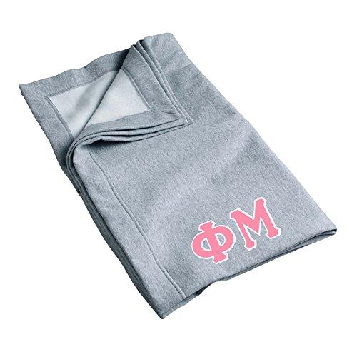 Phi Mu Sweatshirt Blanket with Twill Greek Letters