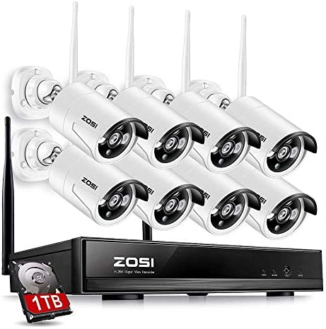 ZOSI 8 Channel NVR 960P High Definition Wireless WiFi Smart HD IP Home Video Security Camera System 100ft Night Vision Pre-Installed 1TB Hard Drive Renewed