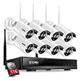 ZOSI 8 Channel NVR 960P High Definition Wireless WiFi Smart HD IP Home Video Security Camera System 100ft Night Vision Pre-Installed 1TB Hard Drive (Renewed)