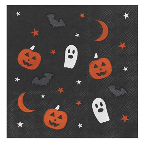 Cocktail Napkins - 50-Pack Luncheon Napkins, Disposable Paper Napkins Halloween Party Supplies, 3-Ply, Ghost, Pumpkin, Bat Design, Unfolded 10 x 10 Inches, Folded 5 x 5 Inches