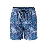 Dark Night Flowers Mens Quick Dry Lightweight Beach Shorts with Drawstring