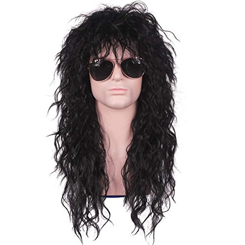 Qaccf 80s Wigs Halloween Costumes Male Wig Long Culry Punk Heavy Metal Mullet Wig (Black)