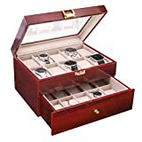 SAVORI Watches Box Organizer, Luxury 20 Slots Mens Watch Case Cherry Piano Lacquer Wood Watches Collection Superior Metal Buckle Watches Display with Soft Removable Velvet Pillows - Red