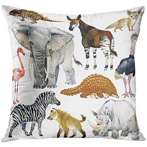 - Throw Pillow Cover African Animals Watercolor Collection Lizard Elephant Fox Flamingos Okapi Ostrich Pangolin Rhinoceros Decorative Pillow Case Home Decor Square 18x18 Inches Pillowcase
