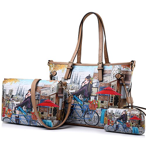 Image of Womens 3 Pcs Shoulder Handbags Large Capacity Top-Handle Purse Set by Realer(Bike Girl)