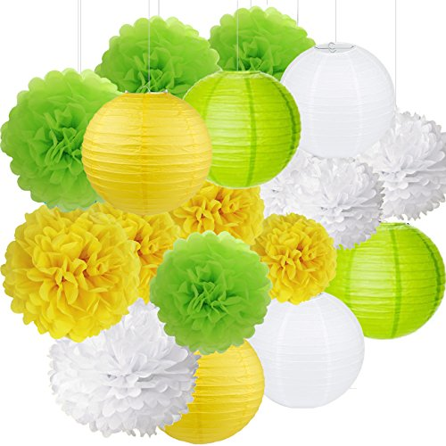 18Pcs Party Pack Paer Lanterns and Pom Pom Balls Hanging Decoration for Wedding Birthday Baby Shower-Yellow/Green/White -