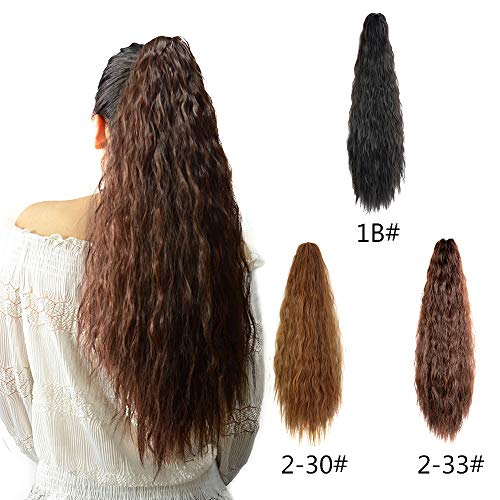 Kinky Straight Synthetic Yaki Ponytail Clip in Hair Extensions Hairpiece Soft Silky for Women 24inch-Claw (Dark Brown) ()