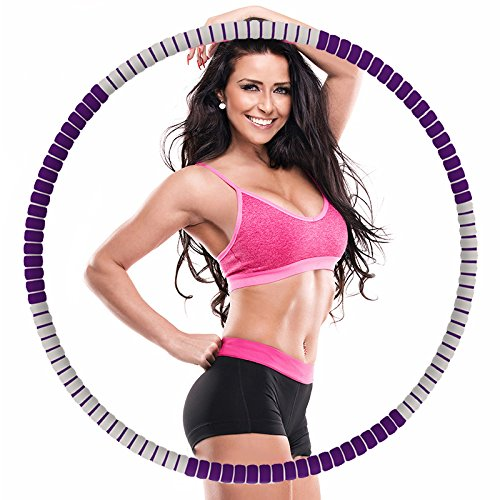 Weighted Hula Hoop -2.7lbs-5lbs-Free to add weight-Heavy Fitness Hoop - Weight Loss Workout Equipment - the Funnest Way to Lose Weight - Fat Burning (Purple and gray)