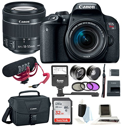 Bags Slr Canon (Canon T7i Video Creator Kit w/ 18-55mm Lens, Rode Microphone, 32GB Card + Canon SLR Bag, Flash & Supreme Kit)