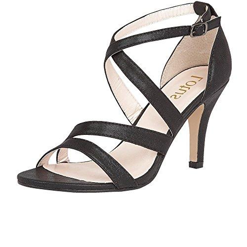 Sandalias De Tiras De Shimmer Negro Gabby Lotus 7