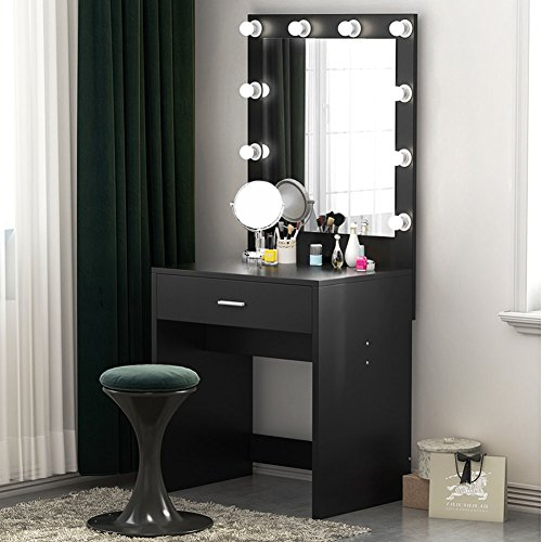 Tribesigns Vanity Set Lighted Mirror, Makeup Vanity Dressing Table Dresser Desk Bedroom (10 Cool White LED Bulbs)