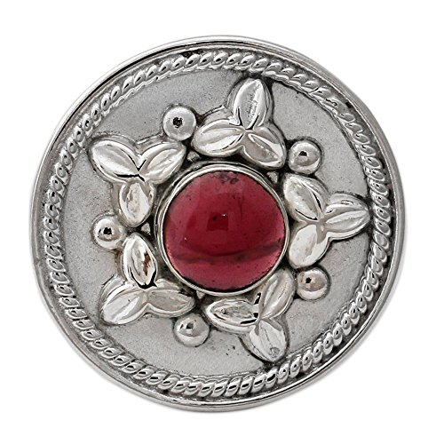 NOVICA Garnet .925 Sterling Silver Artisan Crafted Statement Ring, Crimson Sea Star