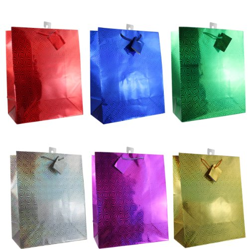 12-Pack Hologram LARGE Gift Bags 6-Color Assortment (12.5