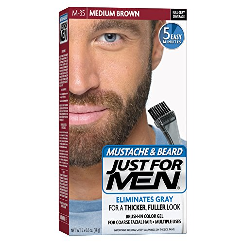 Just For Men Mustache and Beard Brush-In Color Gel, Medium Brown (Pack of 3) (Men Moustache)