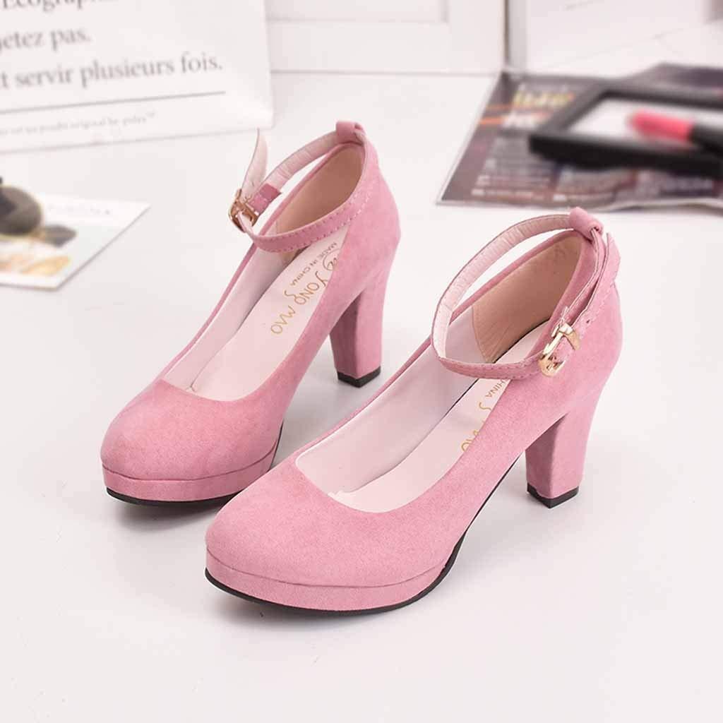60c9e3b6d14f8 Amazon.com: Sunhusing Ladies Round Head High Heels Single Shoes ...