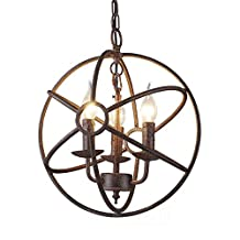 "Industrial Adjustable Weathered Vintage Retro Pendant Light - LITFAD 14"" Edison Metal Globe Shade Hanging Ceiling Light Cage Chandelier Pendant Lamp Fixture Rustic Copper Finish with 3 Lights"