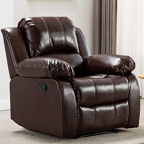 ANJ Recliner Chair Overstuffed Heavy Duty Recliner, Breathable Bonded Leather Home Theater Seating - Manual Chairs Recliner Single Sofa, Brown (Chairs Overstuffed Recliner)