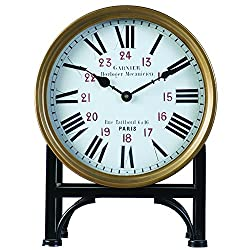 Derby Garnier Vintage Mantel Clock, Battery Operated Decorative Shelf Clock, Bronze