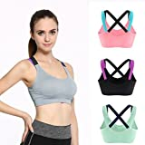 sports bra for 11 year olds - Queenie Qin Women Cross Back Racerback Sports Bras - Removable Pads Seamless High Impact Workout Gym Activewear Bra