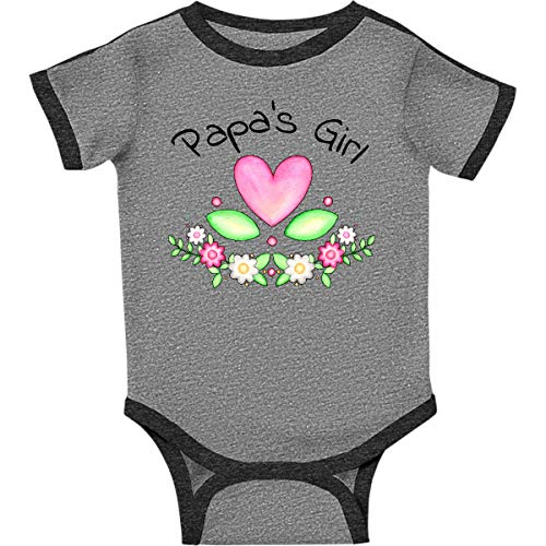 inktastic Papas Girl- Heart Infant Creeper 6 Months Ringer Heather and Smoke