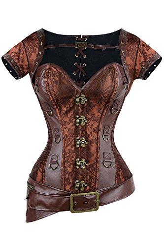KIWI RATA Women's Steel Boned Vintage Corset Steampunk Gothic Bustier Waist Cincher Vest (L, V Neck Punk Corset Brown)