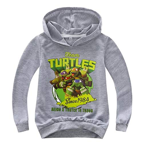 XCO-LEE Boys Girls Teenage Mutant Ninja Turtles Hoodie-Long Sleeve Pullover Hooded Tops for Kids,Toddlers(2T-14 Years) Gray -