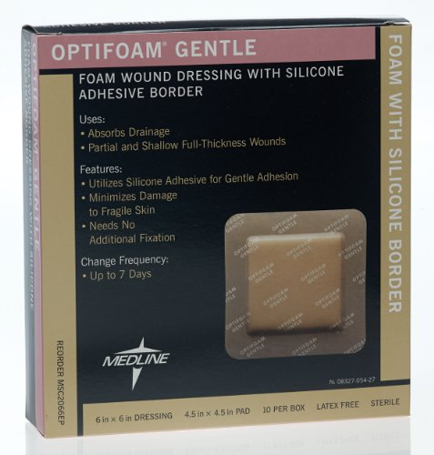 Medline Optifoam Adhesive (Medline MSC2066EPZ Optifoam Gentle Border Adhesive Dressings, 6