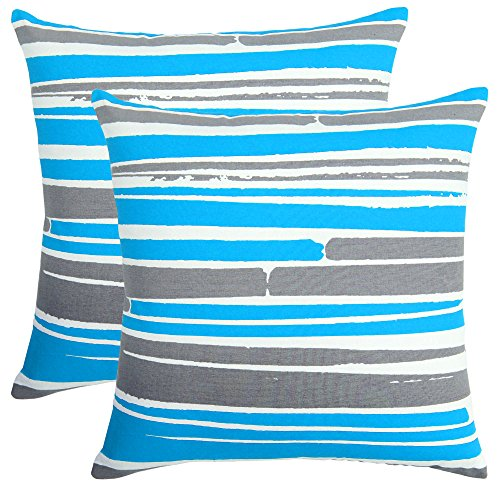 Bath Bed Decor Pack of 2 Accent Decorative Throw Pillow Covers Cushion Cases Cushion Covers Pillowcases in Cotton Canvas with Hidden Zipper Slipcovers for Couch Sofa Bed (18 x 18 Inches;Turquoise) ()