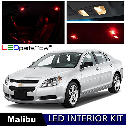 LEDpartsNOW Chevy Malibu 2008-2012 Red Premium LED Interior Lights Package (Chevy Malibu Interior)