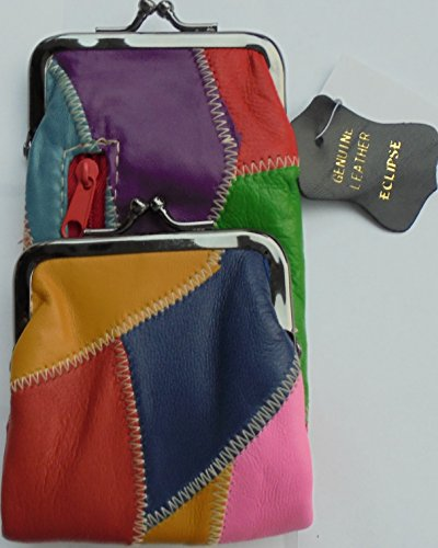 Lambskin Patched Leather - Multi Color Patched Lamb Skin Cigarette Case with Zipper Pocket and Lighter Case Fit 100 and 120's