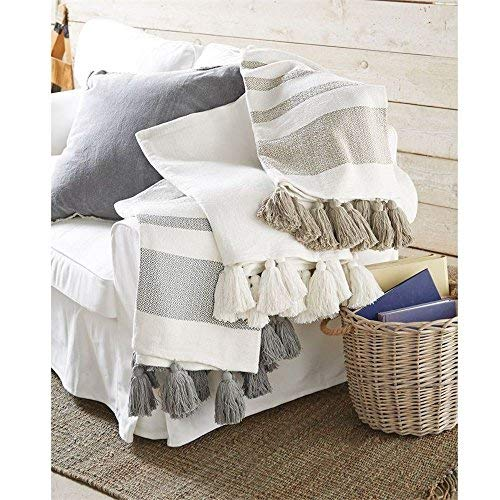 Mud Pie Striped Woven Tassel Grey Throw Blanket 50 x 61 inch ()