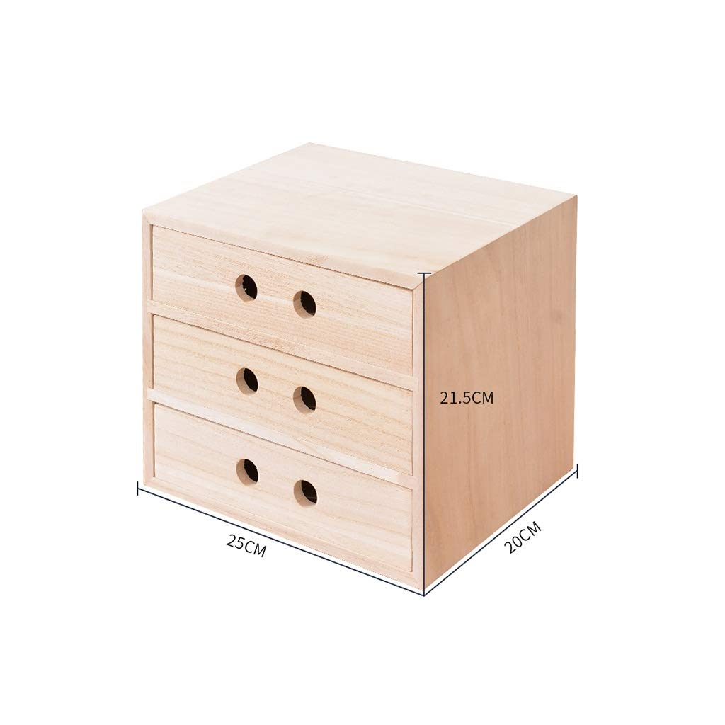 A4 Desktop File Cabinet Data Cabinet Drawer File Storage Cabinet File Box Office Supplies Portable and Tidy Storage Box-Wooden (Color : 25X20X21.5CM) by QSJY File Cabinets
