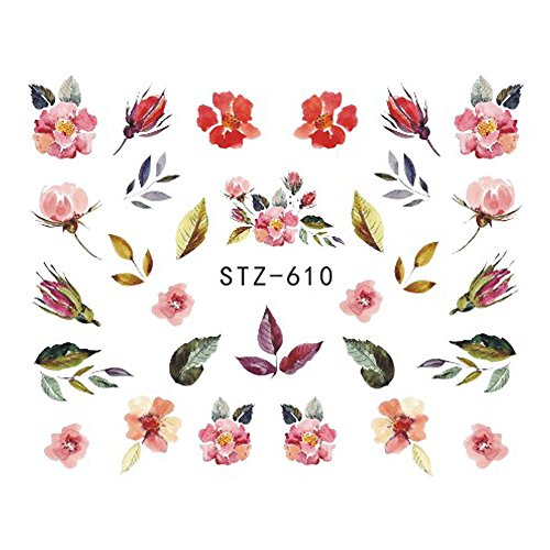1 Sheet Nail Sticker Water Transfers Stickers Mixed Flowers Colorful Decal DIY Nail Art Foil Tips Stencil STZ610