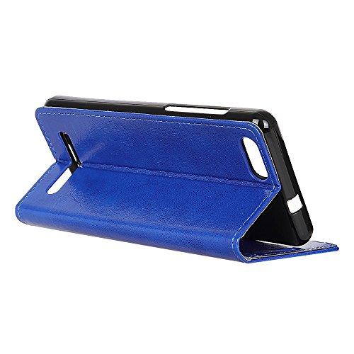 Lusee PU Caso de cuero sintético Funda para BQ S5058 Cubierta con funda de silicona azul caballo Loco patrón azul