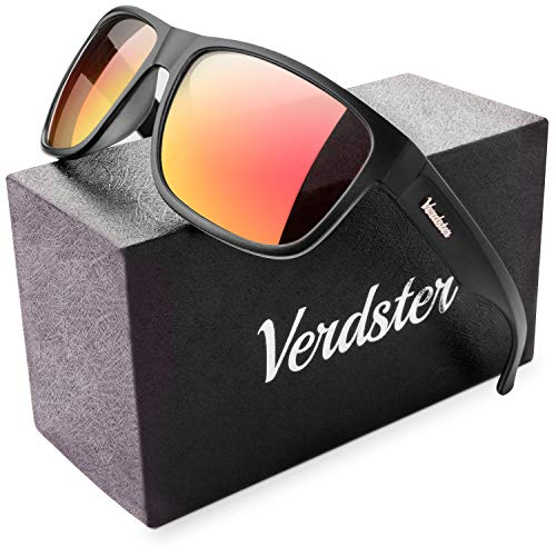 Verdster Mirrored Polarized Sunglasses for Men - Trendy & Stylish Black Shades - Hardcase & Accessories Included (Black/Orange)